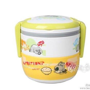 儿童卡通双层保温饭盒 可爱卡通儿童专用饭盒贝肯能系列餐具