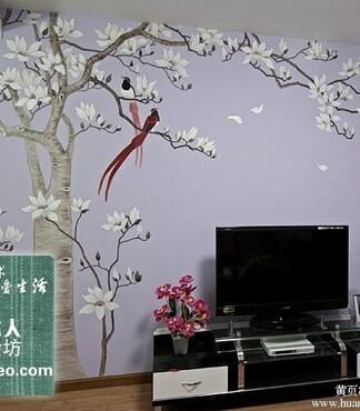 唯美花藤手绘墙画